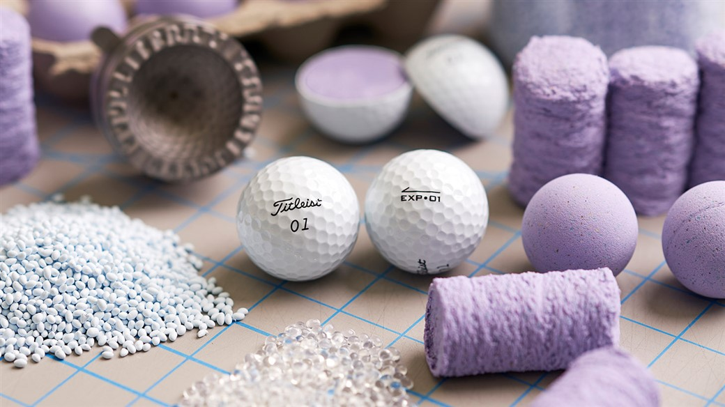 Photo of New Titleist EXP•01 Golf Ball in Titleist R&D along with the component materials it is made from