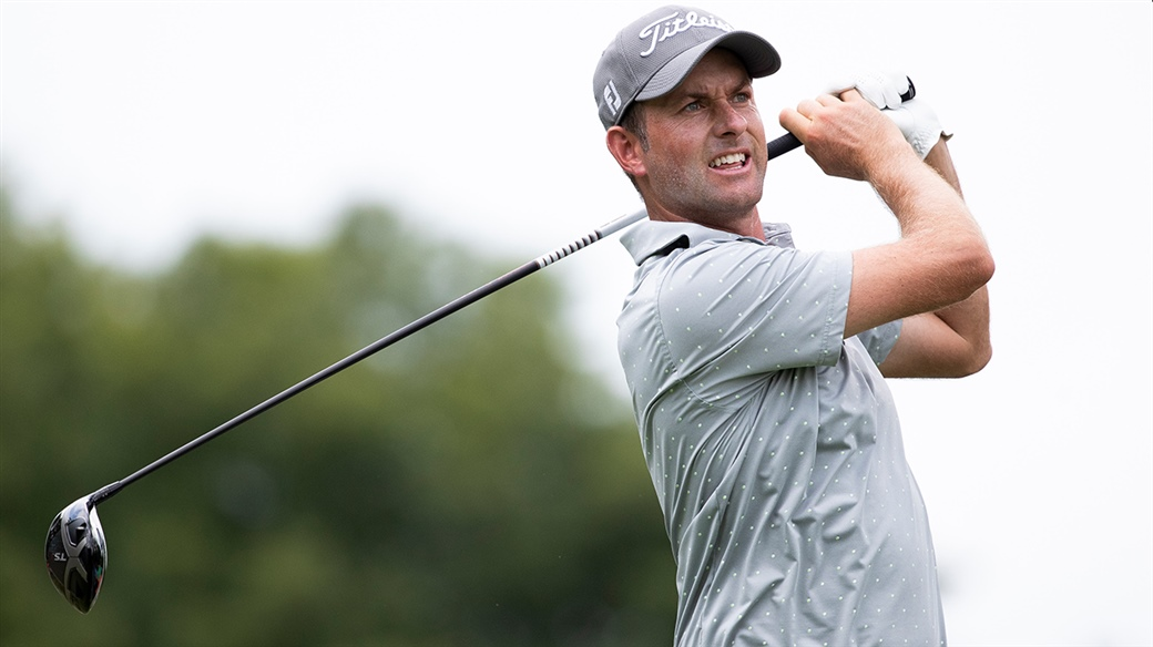 Webb Simpson hits a tee shot with his Titleist TS3 driver