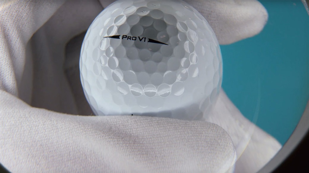 A Quality Control Engineer Inspects a Titleist Pro V1 golf ball at Ball Plant 3 in New Bedford, MA