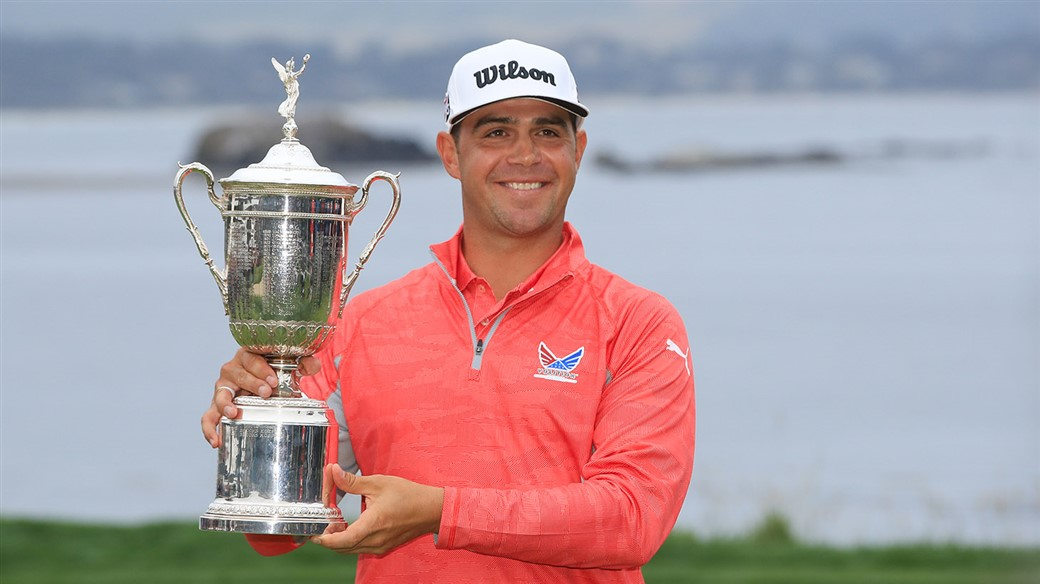 Gary Woodland Holds the champion's Trophy after winning the 119th U.S Open at Pebble Beach