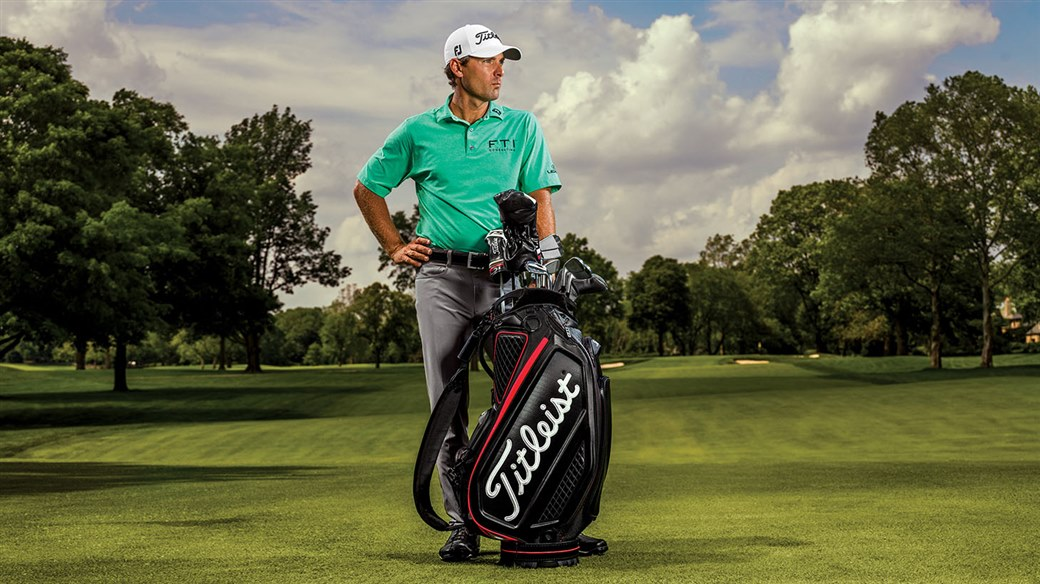 Titleist Brand Ambassador Charles Howell III on set at a photo shoot for the new Titleist Jet Black Tour Bag.