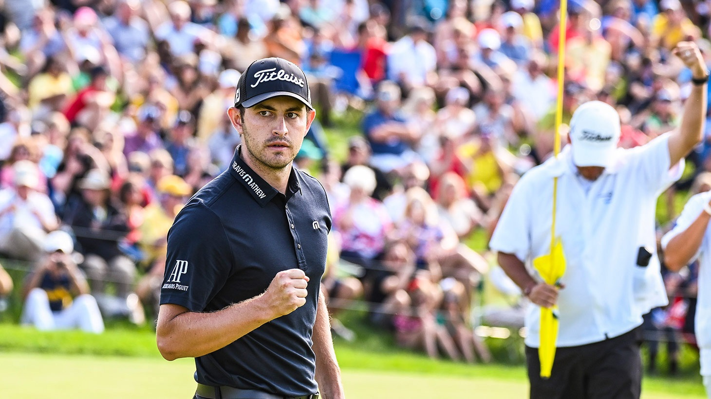 Patrick Cantlay reacts after holng the winning putt with his Pro V1 golf ball at the 2019 Memorial Tournament