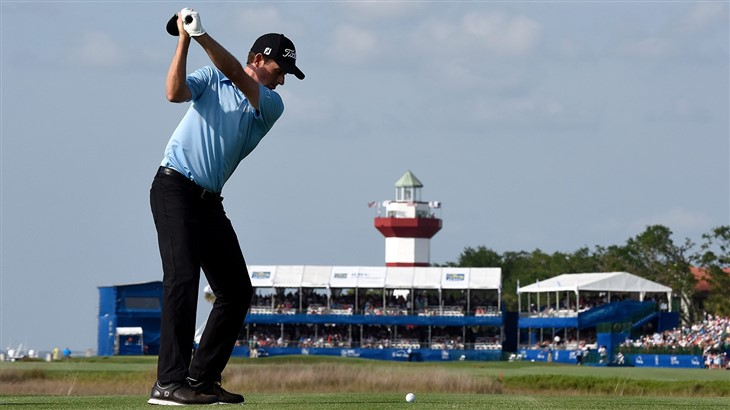 Webb Simpson tees off on the 18th hole at Harbour Town Golf Links